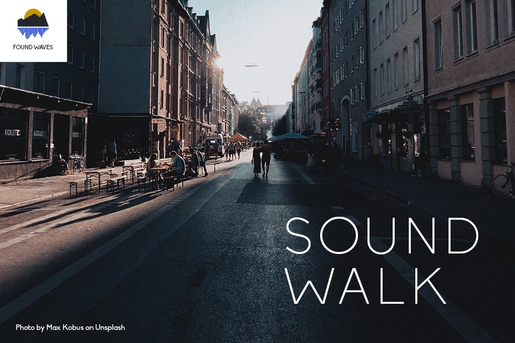 Photo of a street in Munich promoting sound walk event presented by Found Waves studio